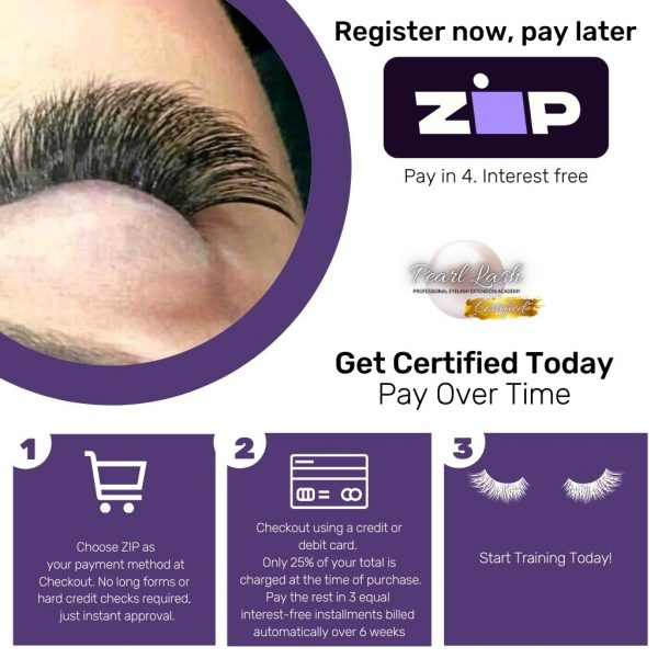 Register now, pay later ZIP Pay Pearl Lash